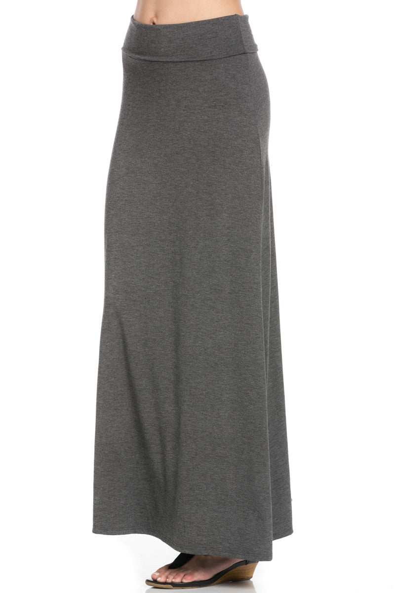 Fold Over Two-Way Maxi Skirt Charcoal - Skirts - My Yuccie - 7