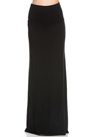 Fold Over Two-Way Maxi Skirt Black - Skirts - My Yuccie - 1