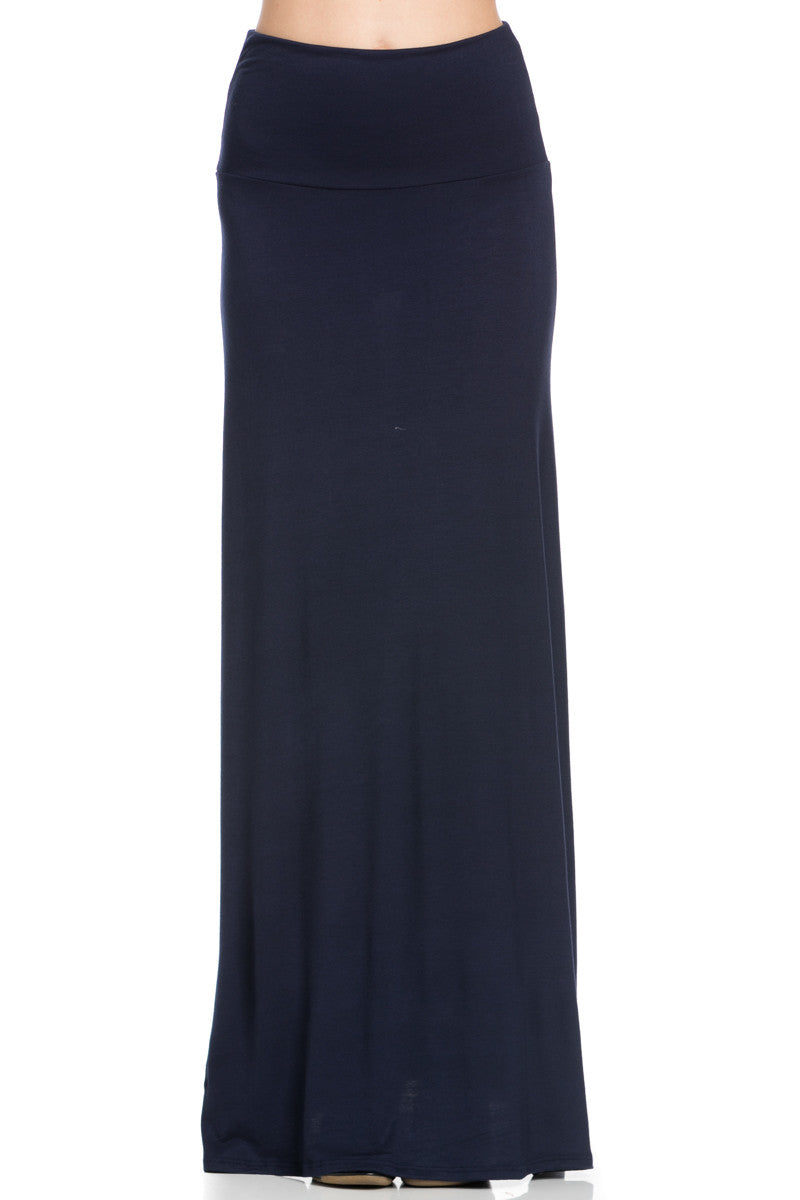 Fold Over Two-Way Maxi Skirt Navy - Skirts - My Yuccie - 1