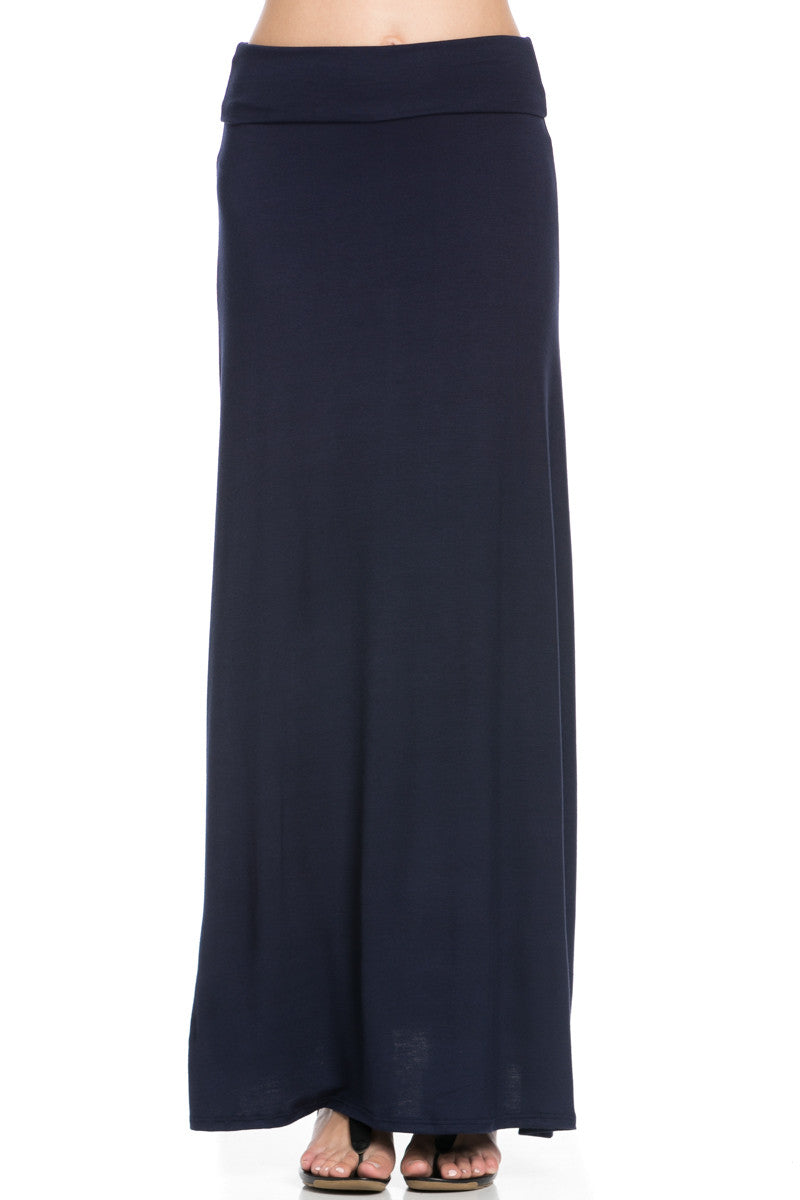 Fold Over Two-Way Maxi Skirt Navy - Skirts - My Yuccie - 6