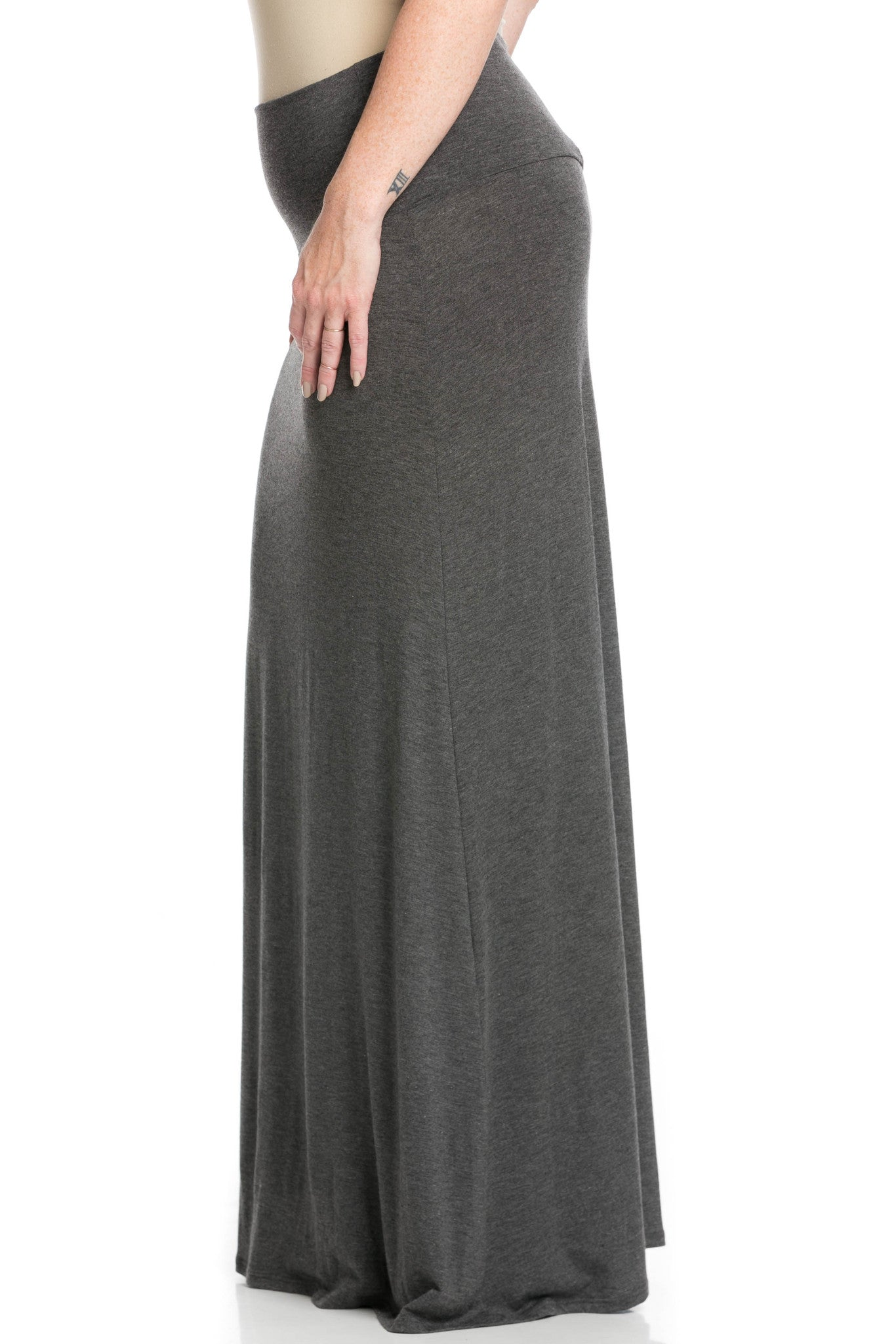 Fold Over Two-Way Maxi Skirt Charcoal - Skirts - My Yuccie - 10