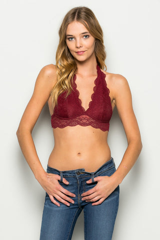 Burgundy Like Pearls Around My Neck Halter Bralette - Bralette - My Yuccie - 1