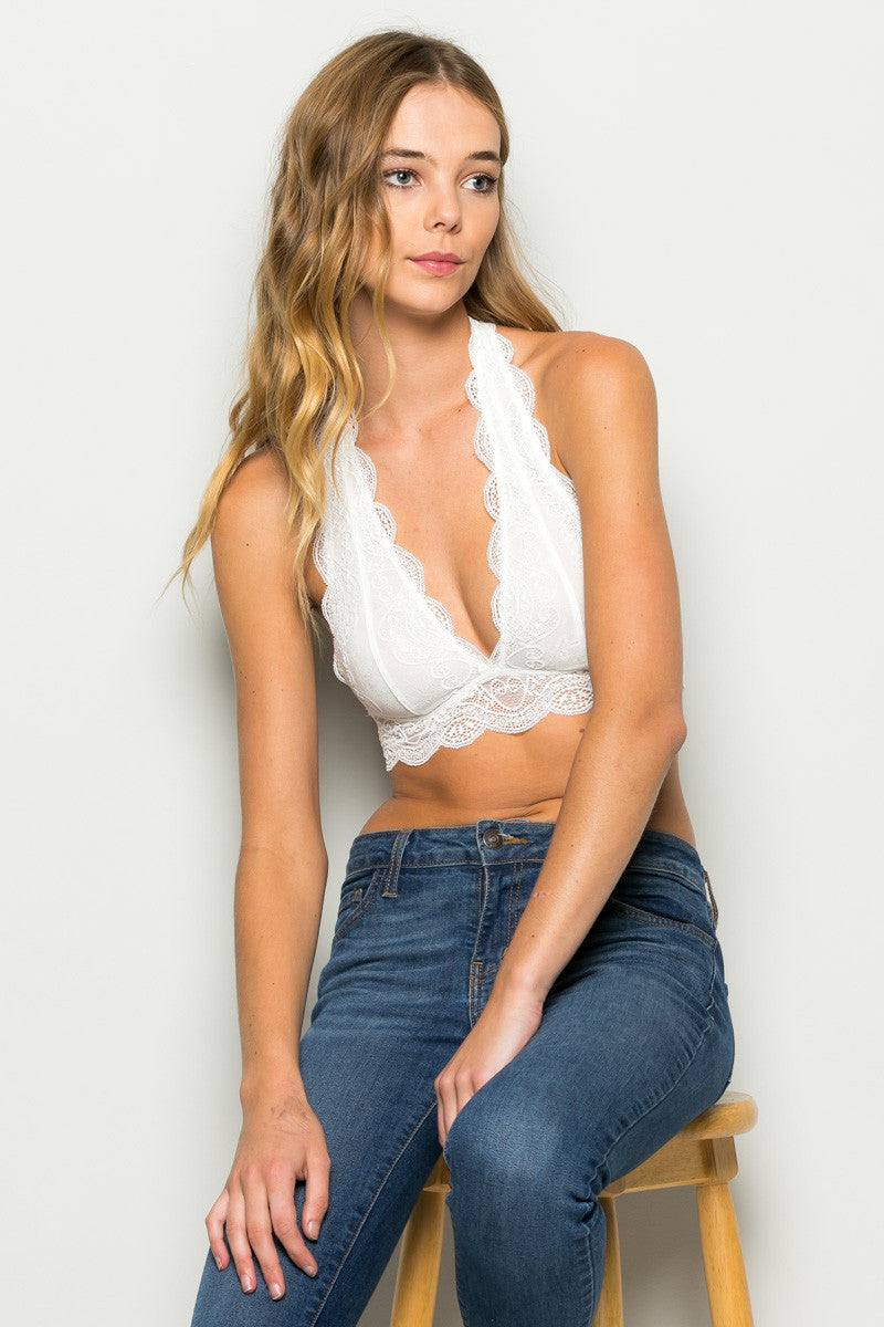 Ivory Like Pearls Around My Neck Halter Bralette - Bralette - My Yuccie - 1