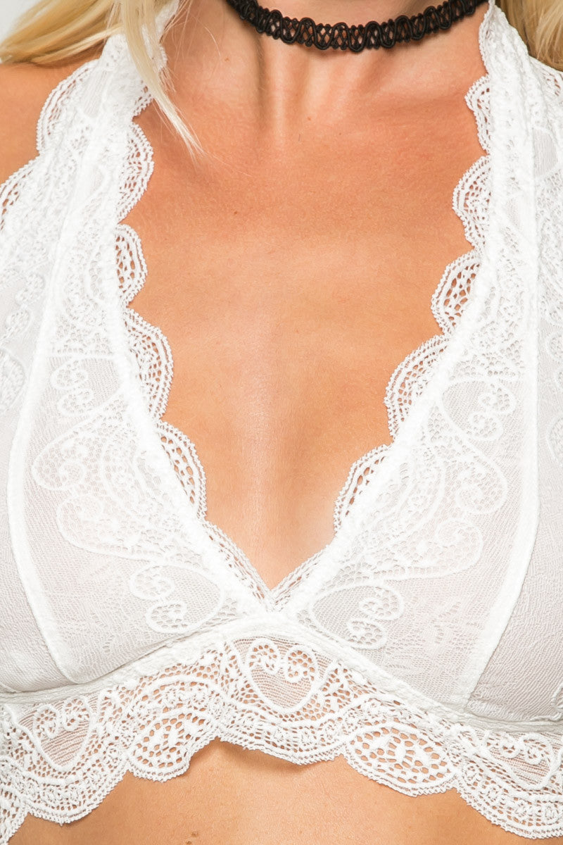 Ivory Like Pearls Around My Neck Halter Bralette - Bralette - My Yuccie - 4