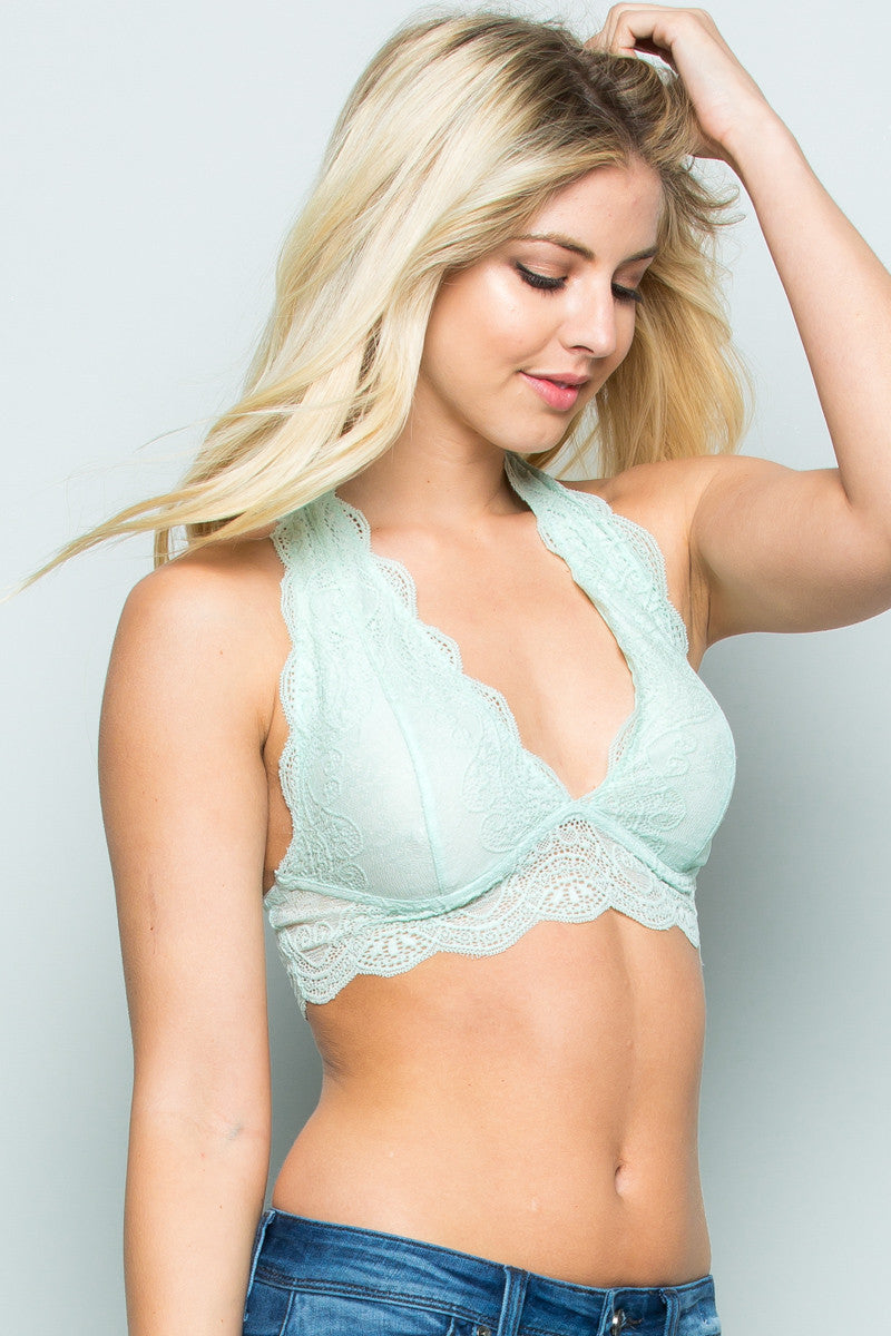 Misty Like Pearls Around My Neck Halter Bralette
