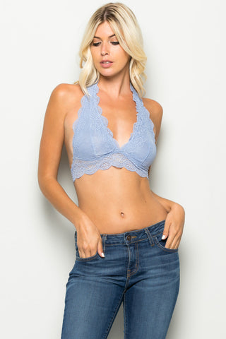Pastel Blue Like Pearls Around My Neck Halter Bralette - Bralette - My Yuccie - 1