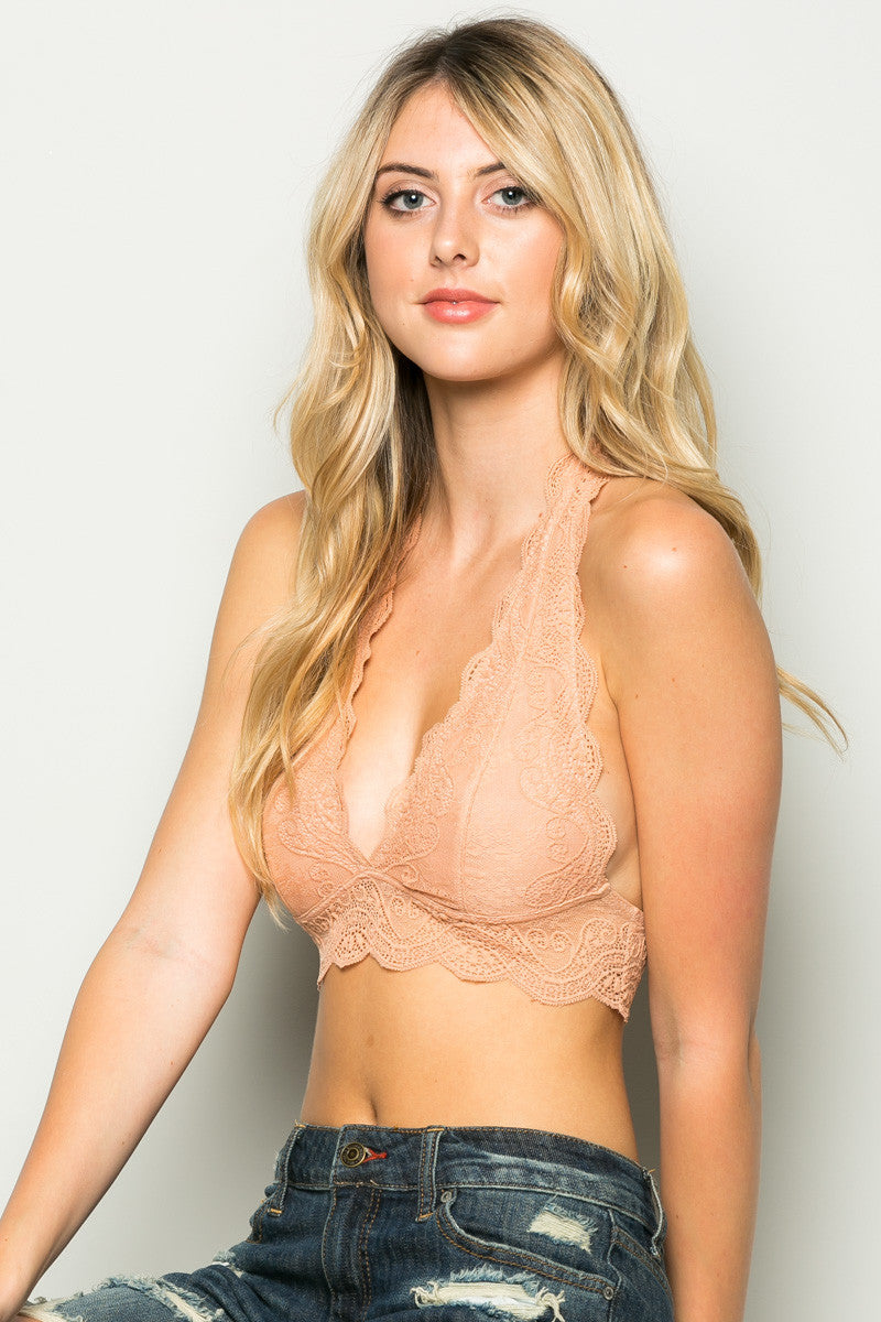 Peach Like Pearls Around My Neck Halter Bralette - Bralette - My Yuccie - 5