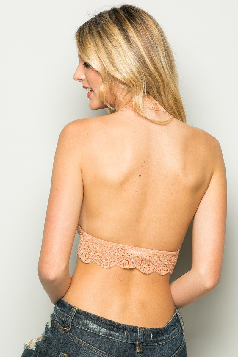 Peach Like Pearls Around My Neck Halter Bralette - Bralette - My Yuccie - 3