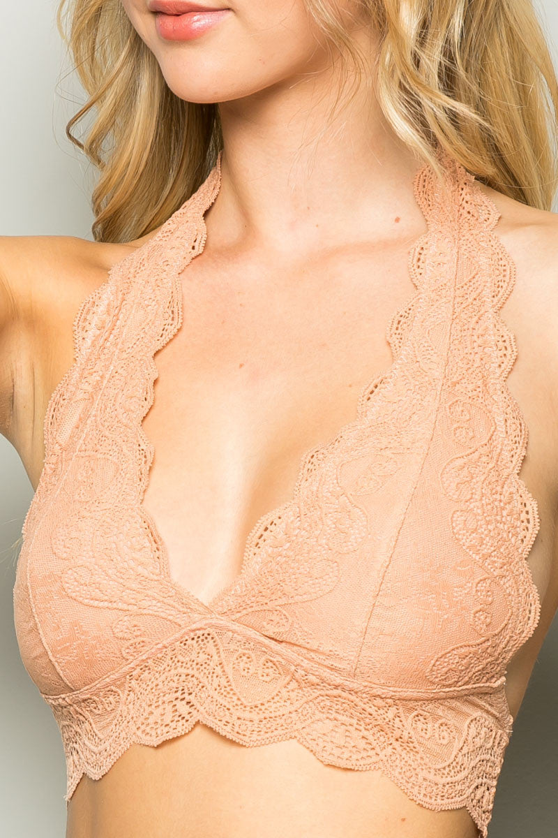 Peach Like Pearls Around My Neck Halter Bralette - Bralette - My Yuccie - 4