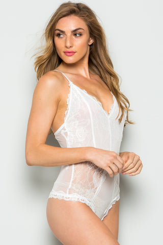 White Semi-Sheer Lace Bodysuit