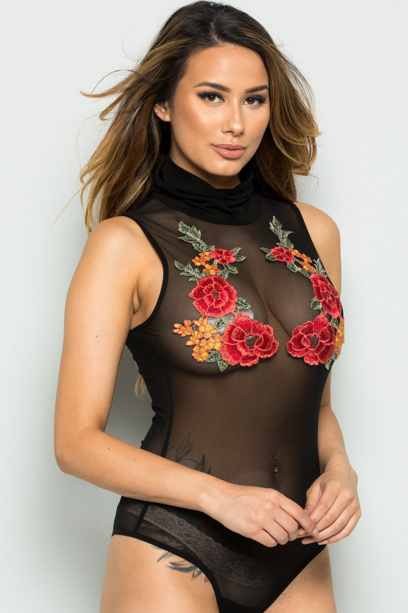 Black Floral Applique Mesh Bodysuit