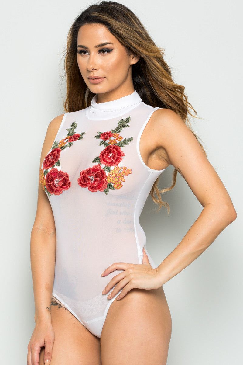 White Floral Applique Mesh Bodysuit