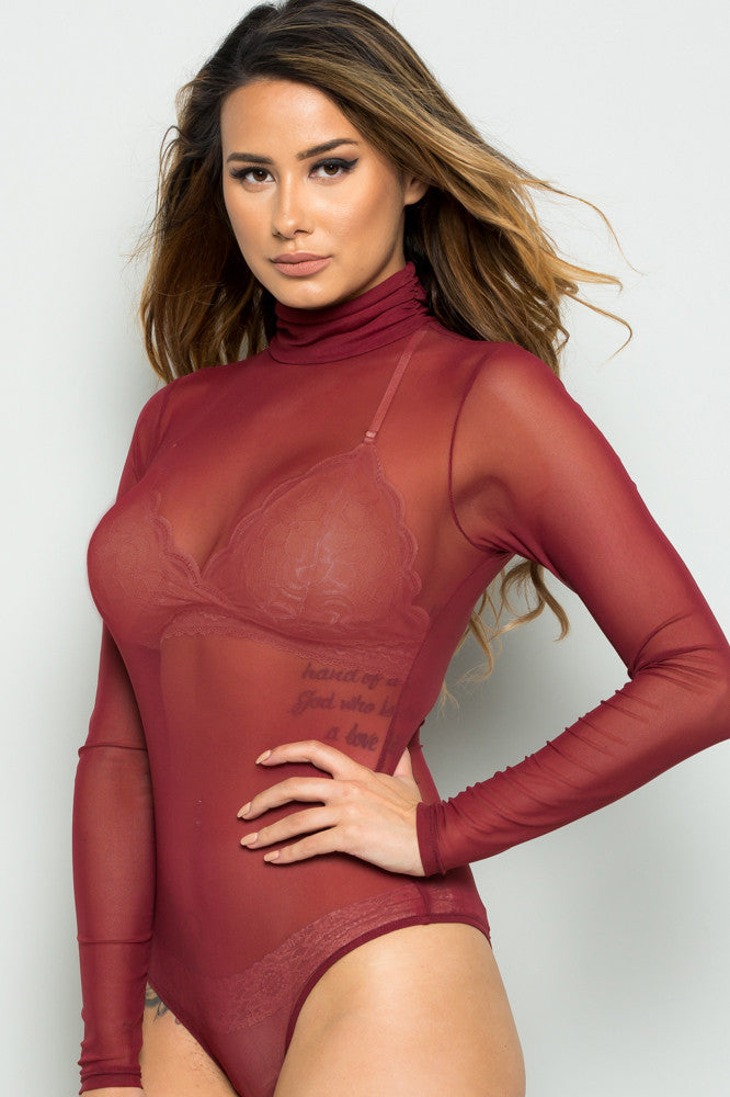 b6433aea93 Rust Sheer Beauty Mesh Bodysuit