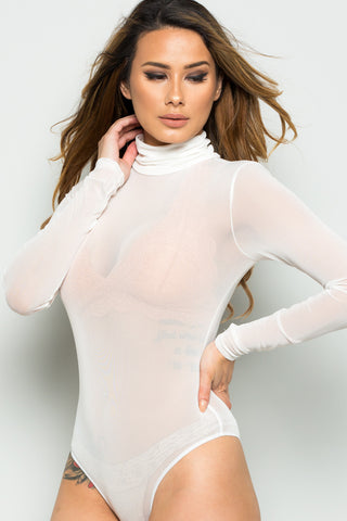 Off White Sheer Beauty Mesh Bodysuit