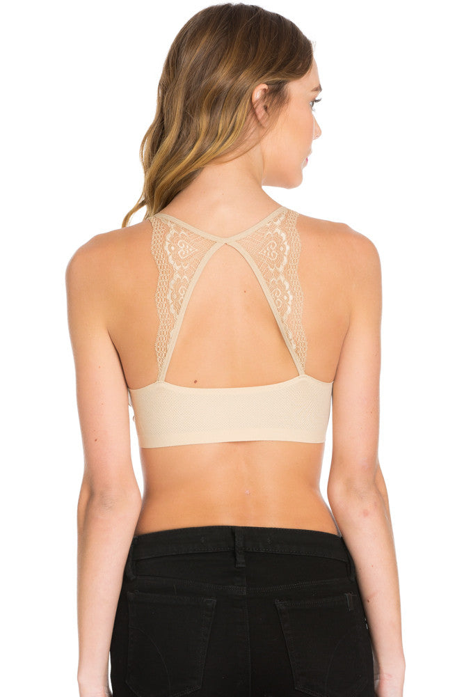 Beige Lace Trim Open Back Jersey Mesh Sports Bra