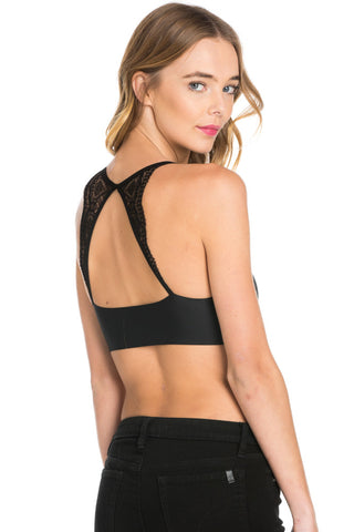 Black Lace Trim Open Back Jersey Mesh Sports Bra
