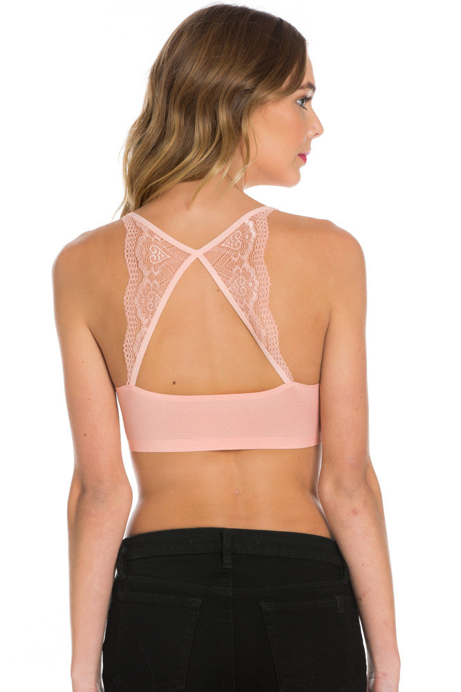 Pink Lace Trim Open Back Jersey Mesh Sports Bra