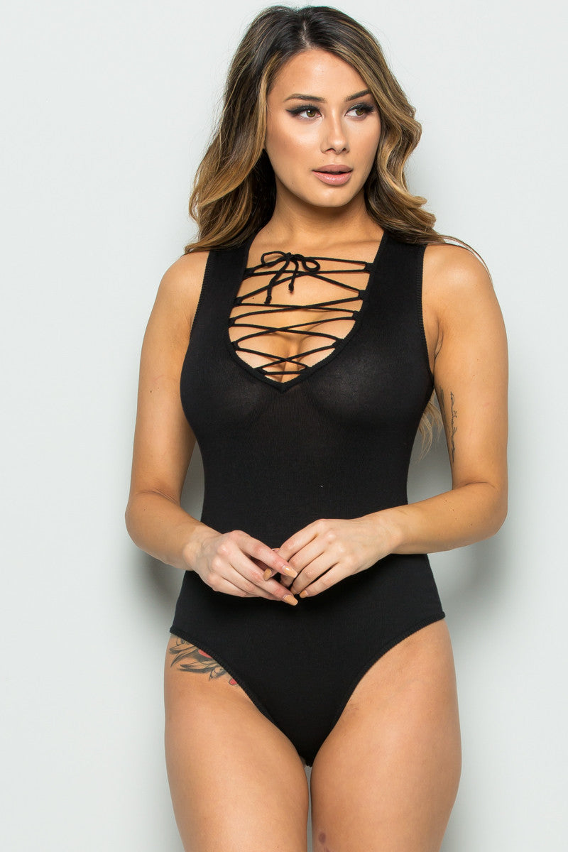 Black Knit Lace Up Bodysuit