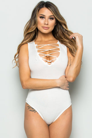Ivory Knit Lace Up Bodysuit