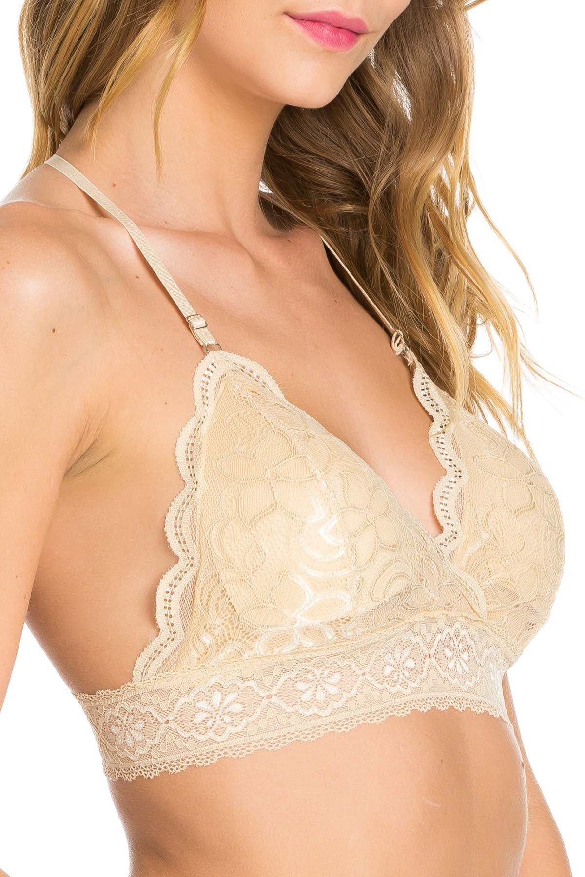 Nude T-Back Traingle Lace Bralette