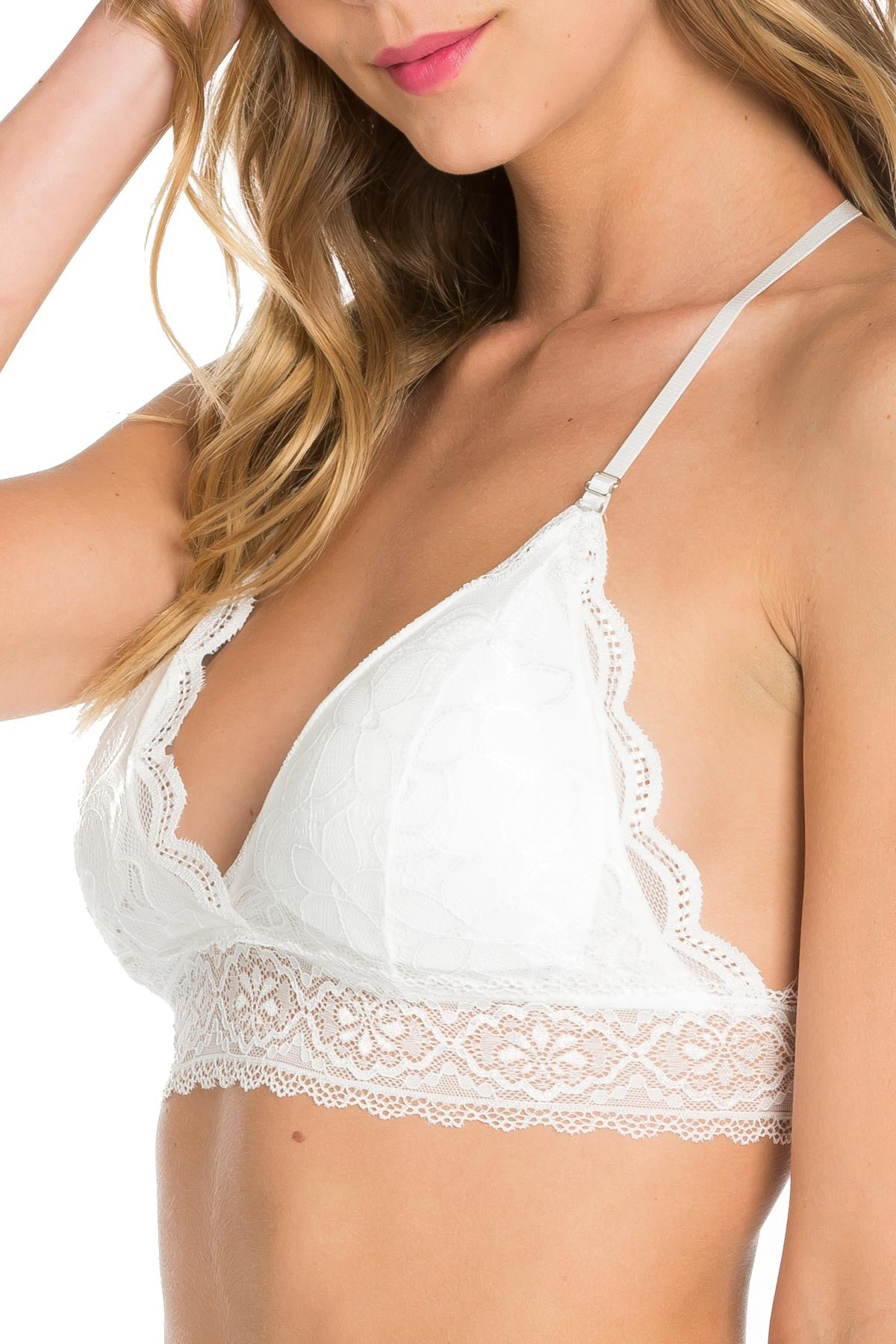 White T-Back Traingle Lace Bralette