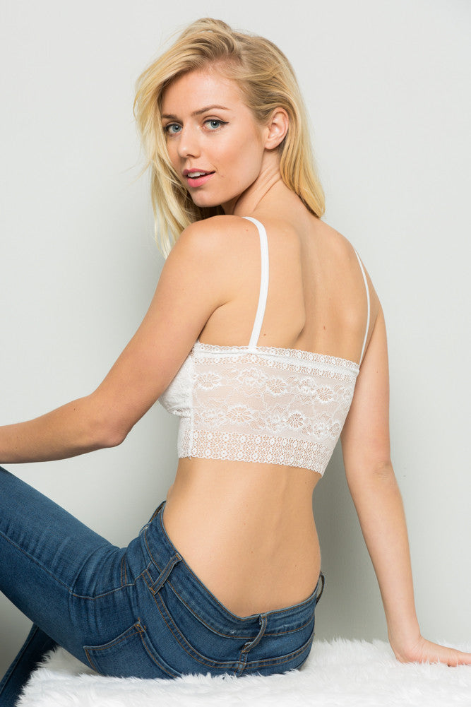 White Strappy Front Padded Lace Bralette