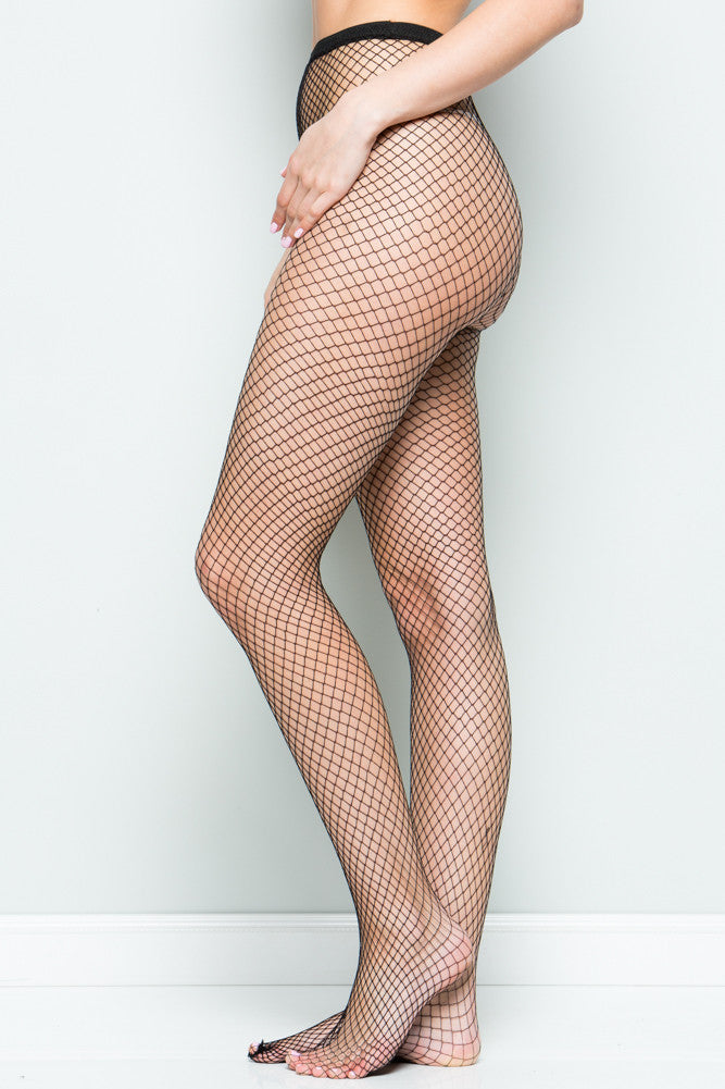 Black Micro Fishnet High Waisted Tights