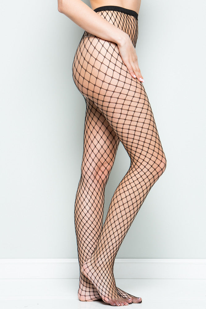 Black High Waisted Fishnet Tights