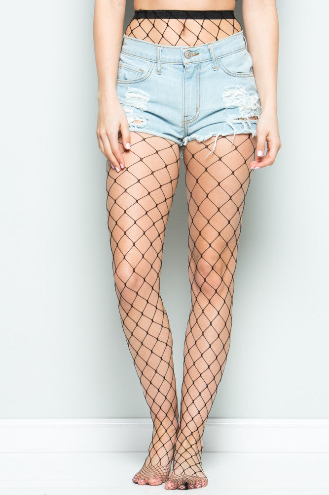 e4721f8a1f6b9 Black Large Scale High Waisted Fishnet Tights | My Yuccie