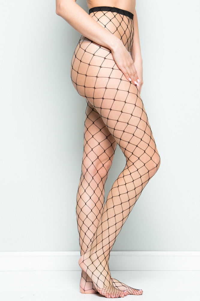 Black Large Scale High Waisted Fishnet Tights