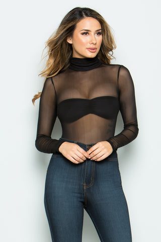 Sheer Me Your Black Beauty Mesh Bodysuit