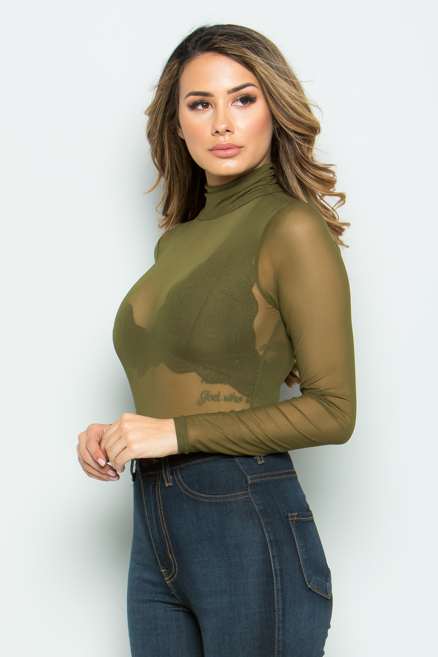 Sheer Me Your olive Beauty Mesh Bodysuit