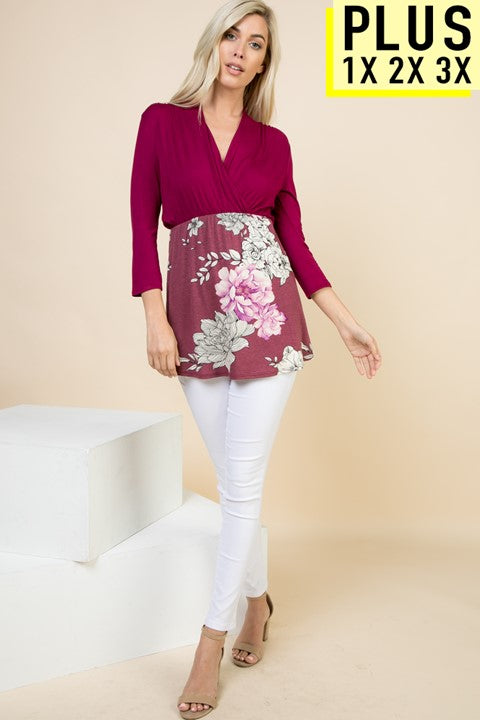 Plus Solid 3/4 Sleeve Tunic with Floral Contrast - PRE-ORDER