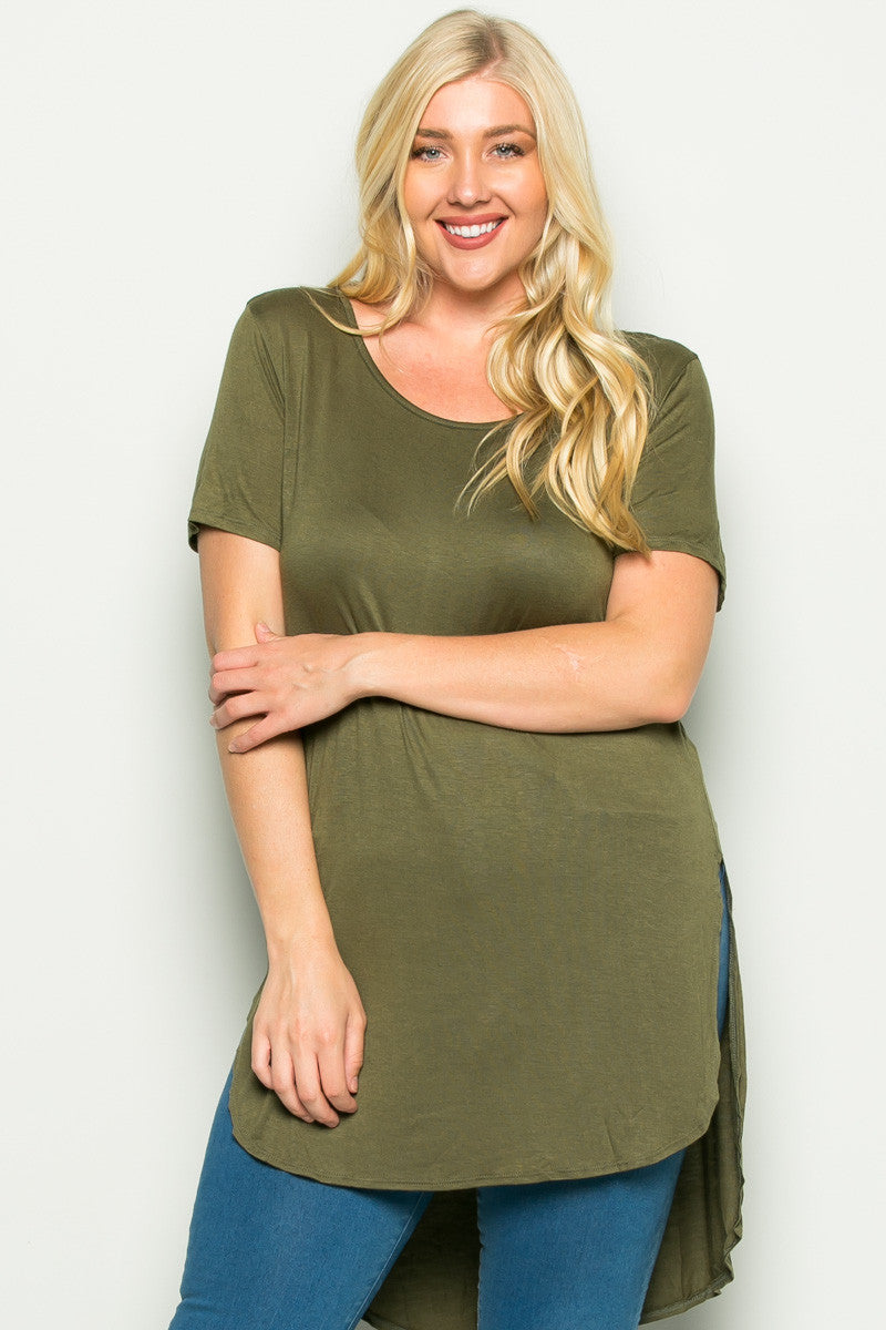 Olive Plus Size High-low Scoop Neck Shirt - Blouses - My Yuccie - 1