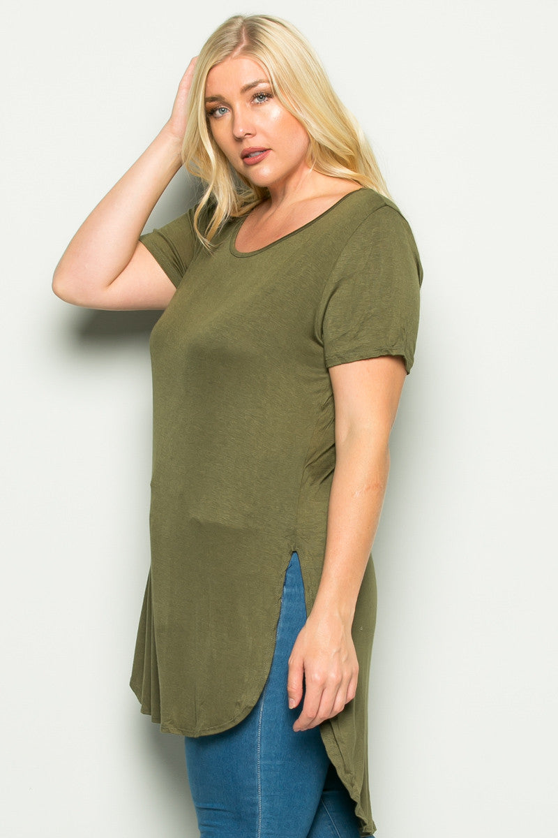 Olive Plus Size High-low Scoop Neck Shirt - Blouses - My Yuccie - 2