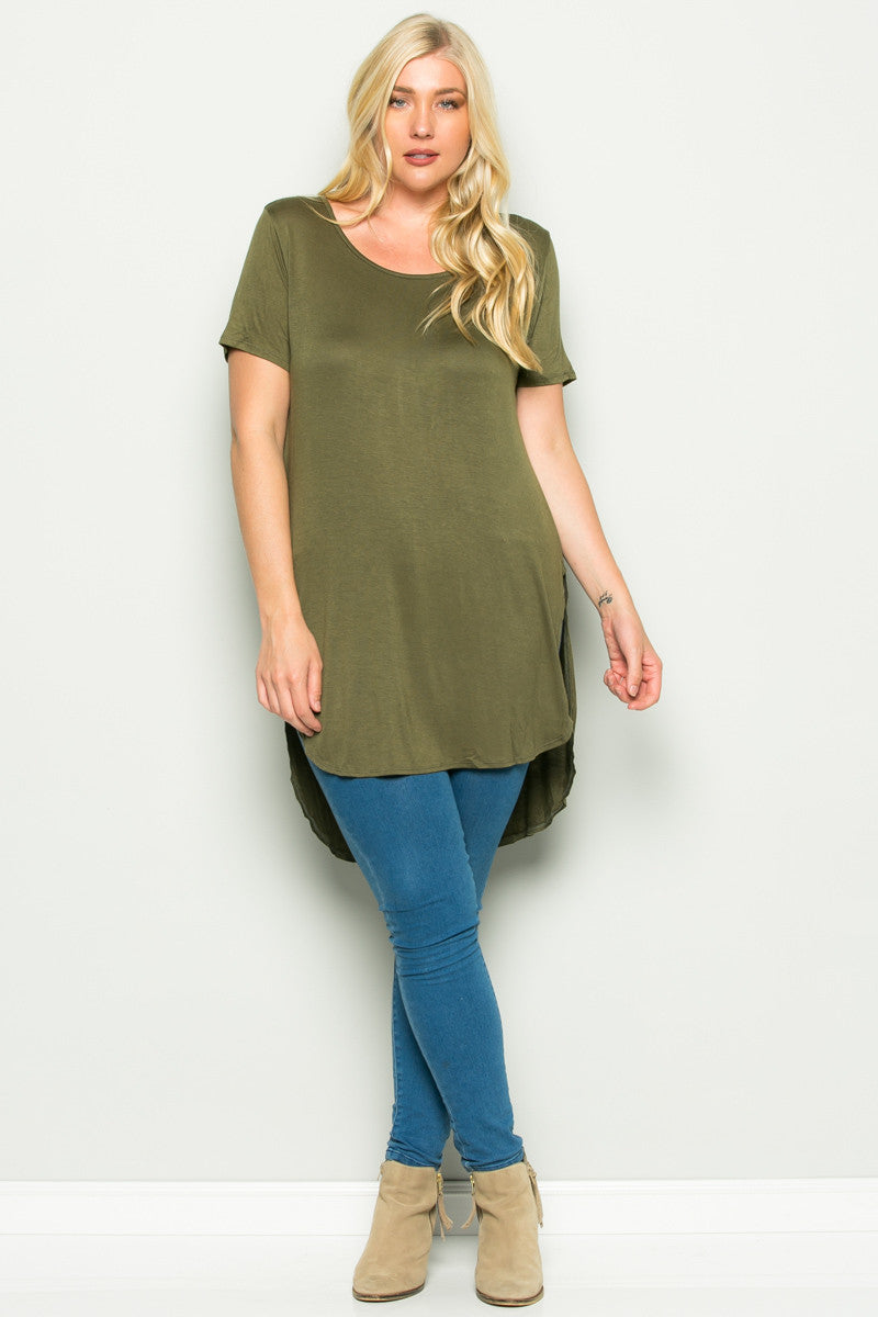 Olive Plus Size High-low Scoop Neck Shirt - Blouses - My Yuccie - 4