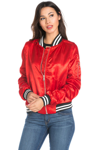 Red Satin Varsity Bomber Jacket - Jacket - My Yuccie - 1