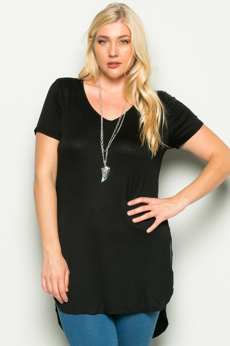 Casual High Low Black V-Neck Shirt - Blouses - My Yuccie - 1
