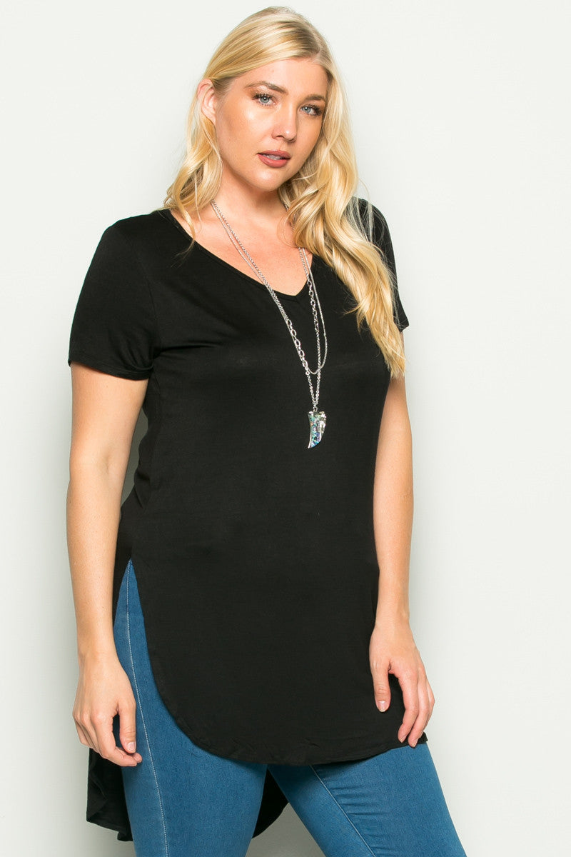 Casual High Low Black V-Neck Shirt - Blouses - My Yuccie - 2