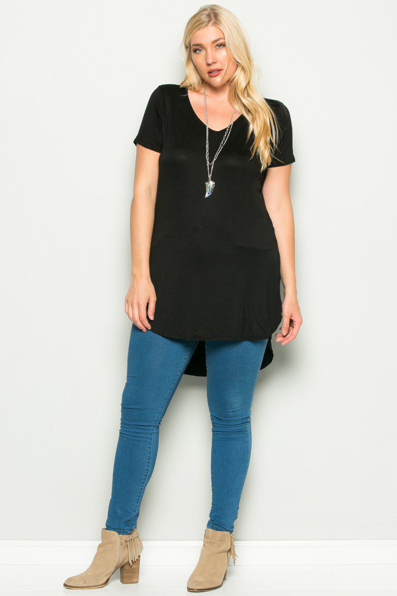 Casual High Low Black V-Neck Shirt - Blouses - My Yuccie - 4