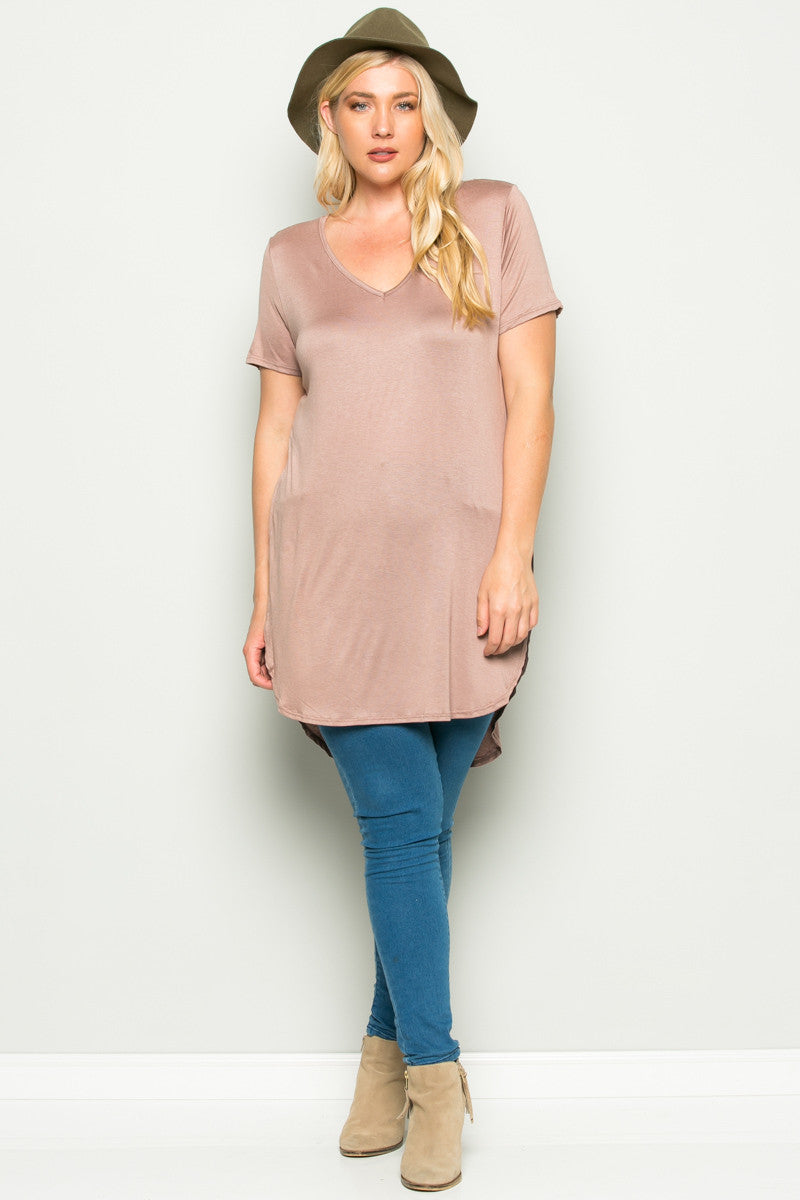 Casual High Low Mocha V-Neck T-Blouse - Blouses - My Yuccie - 8