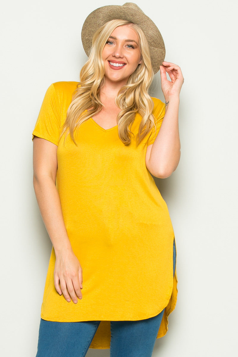 Casual High Low Mustard V-Neck T-Blouse - Blouses - My Yuccie - 1