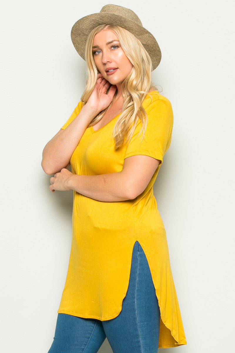 Casual High Low Mustard V-Neck T-Blouse - Blouses - My Yuccie - 2
