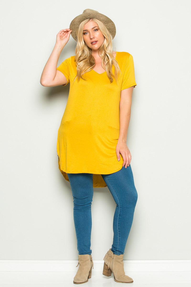 Casual High Low Mustard V-Neck T-Blouse - Blouses - My Yuccie - 8