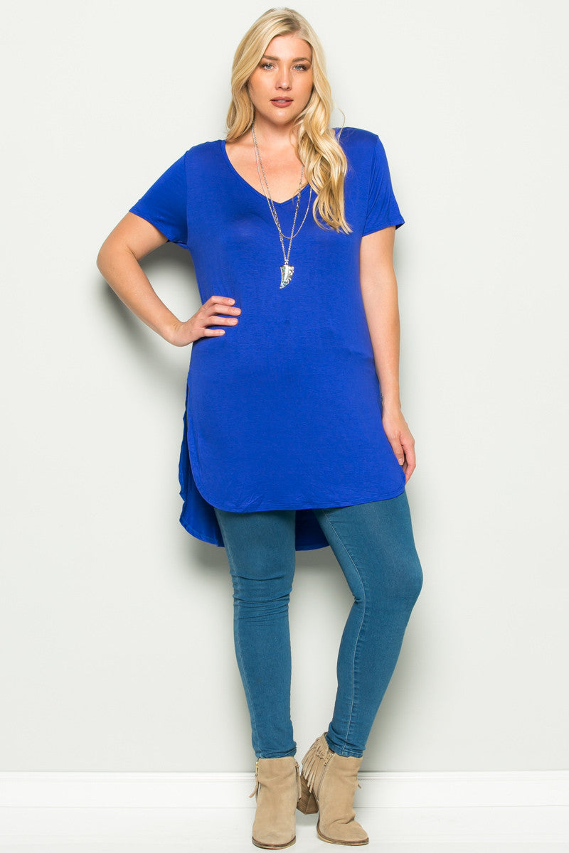 Casual High Low Royal Blue V-Neck T-Blouse - Blouses - My Yuccie - 8
