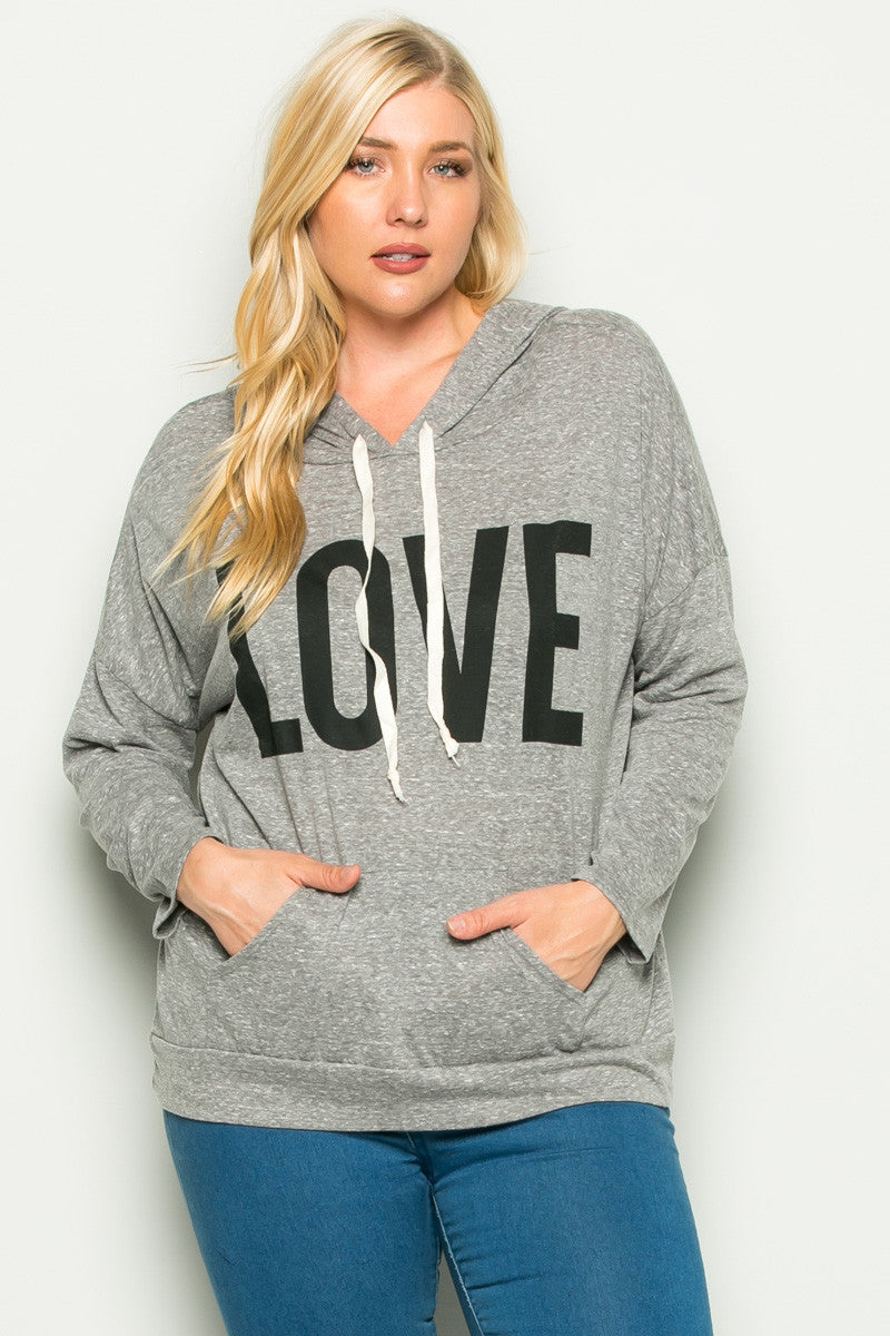 Heather Grey Love Hoodie Sweater Top Plus Size - Sweaters - My Yuccie - 1