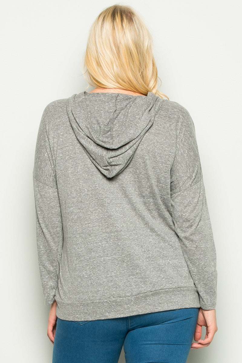 Heather Grey Love Hoodie Sweater Top Plus Size - Sweaters - My Yuccie - 5