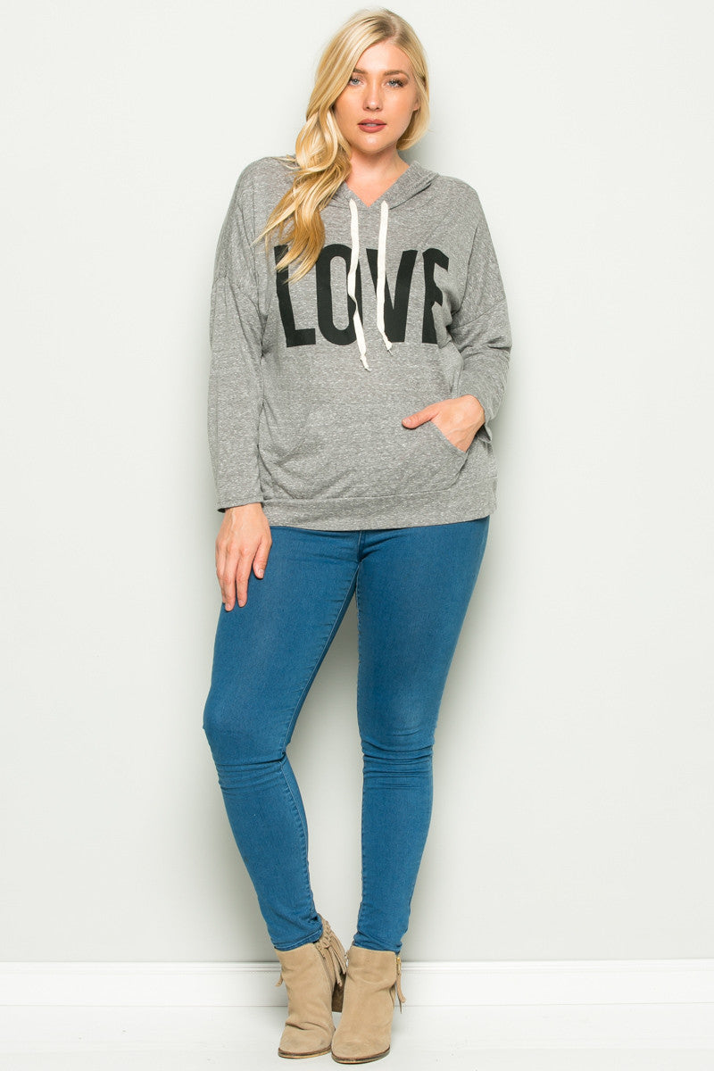 Heather Grey Love Hoodie Sweater Top Plus Size - Sweaters - My Yuccie - 7