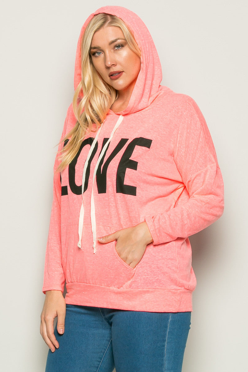 Love Neon Pink Hoodie Sweater Top