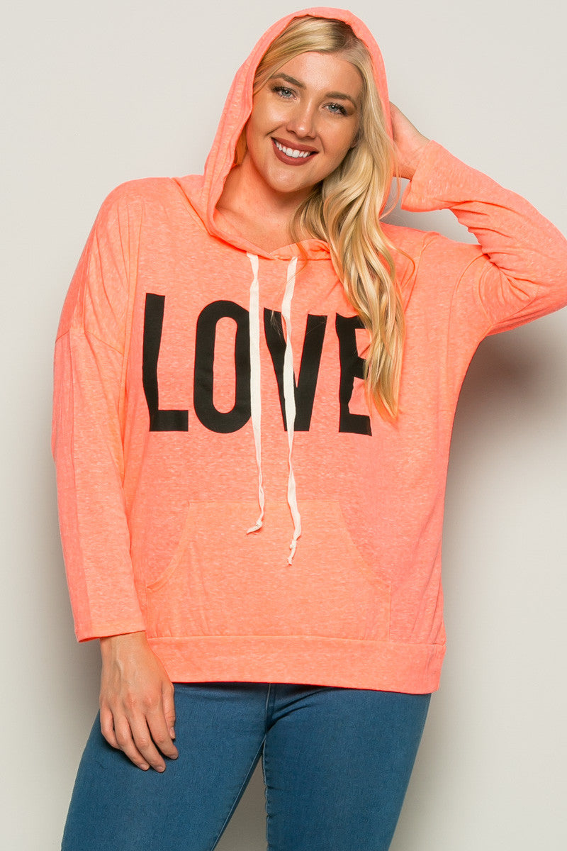 Love Neon Coral Hoodie Sweater Top